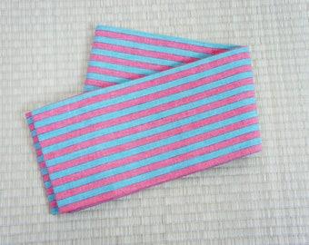 Pastel pink blue striped hanhaba obi, Japanese candy obi, yukata obi, hanhaba obi light blue, vintage obi belt cotton, Japanese kimono belt