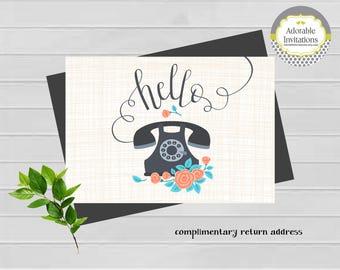 Hello Stationery | Telephone Stationery | Hello notecard | Telephone Notecard