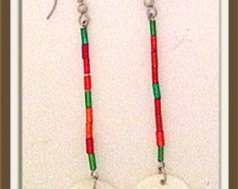 Handmade MWL long dangle red, green and white earrings. 0046