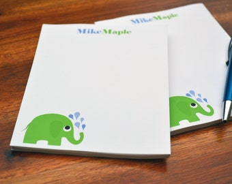 Personalized Notepads / Elephant Notepads /Personalized Notebook / Personalized Elephant Note Pads/ Set of Notepads /  Set of 2 Elephant
