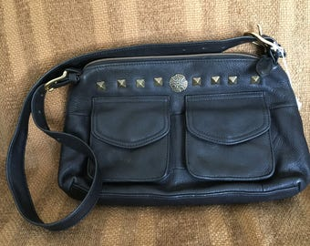 Fossil Genuine Black Leather Shoulder bag, Reimagined with Custom Celtic Knotwork Bronze Conchos and Studs by Wes Connell