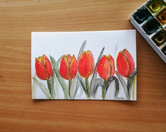 Red Tulip Still Life, Original Watercolor Painting, Floral Art, Spring Art, NowRuz, Botanical Art, Flower Wall Art, Bright, Decor