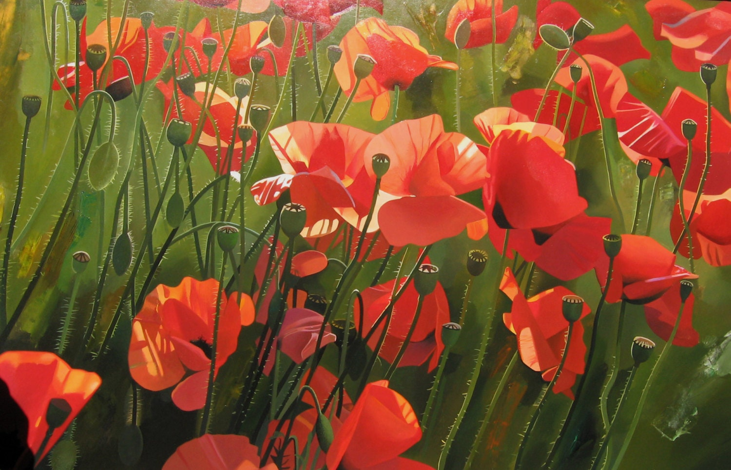 Poppies painting canvas painting field of poppies flower zoom mightylinksfo Image collections