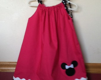 Minnie Mouse Inspired Pillowcase Dress Size 12m to 8