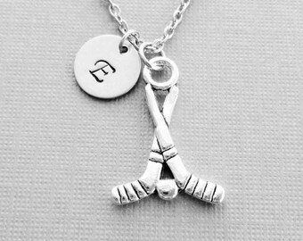 Hockey Necklace, Hockey Puck, Hockey Sticks, BFF Gift Friend Birthday Gift Silver Jewelry Personalized Monogram Hand Stamped Letter Initial