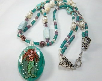 Mermaid Necklace, Fancy Jasper Hand-Painted Focal, Shells, Sea Life, Two-Strands, OOAK, Knotted