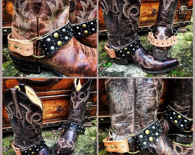 OLD WEST Bohemian Mixed Leather Boot Straps, Handcrafted Boot Harnesses // Ready to Ship