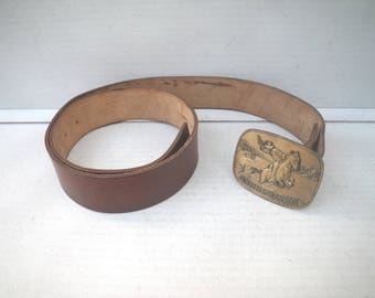 "Brown Leather Belt Strap Only (for removable buckle) - 36 37 38 39 40 - 1 3/4"" 1.75"" Wide - Mens Womens"