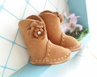 Reserved Blythe Mini Caramel Brown Suede Leather Wide Shaft Boots Azone Pure Neemo M S Size Body Hand Made By MizuSGarden