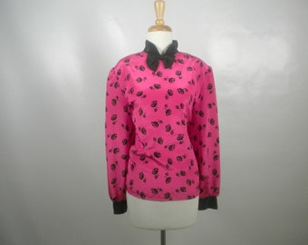 Vintage Plus Size Jaclyn Smith Pink Blouse with Black Roses and Bow