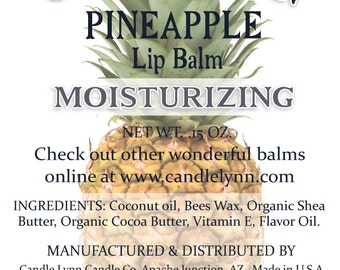 Pineapple Lip Balm by Candle Lynn - Made with Organic Shea and Cocoa Butters