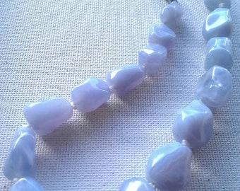 Vintage sky blue glass bead necklace