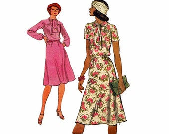 1970s Easy to Sew Flared Dress Vogue 9149 Tie at Neck and High Gathered Yoke Size 10 Bust 32.5 Vintage 1970s Sewing Pattern