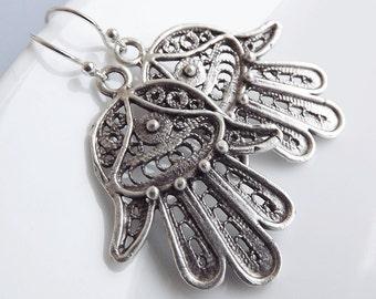 Hamsa Earrings - Hand of Fatima Dangly  - Medium - Sterling silver earwires