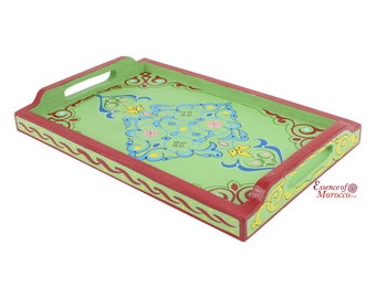 Moroccan Serving Tray Wood Handmade Hand painted Green Limited Edition (Ref. SWT9)