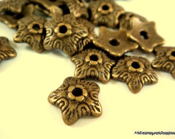 25 Antique Bronze Bead Cap Star Flower 10mm - 25 pc - F4129BC-AB25
