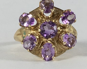 Vintage Amethyst Cluster Ring in 10k Yellow Gold by Esemco. 1.68 TCW. Unique Engagement Ring. February Birthstone. 6th Anniversary Gift.