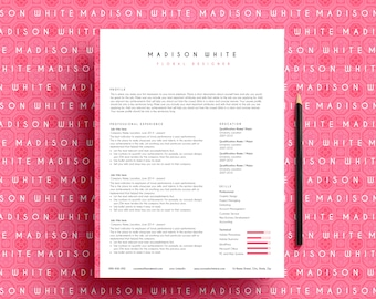 creative resume template, resume template ms word, CV template, professional resume, Maidson resume, pink resume template