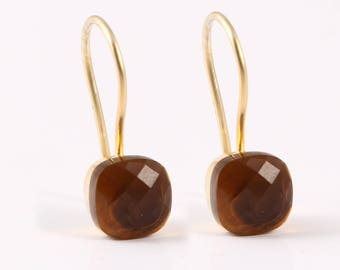 Honey quartz 92.5 sterling silver earring