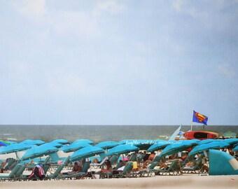 Superman Flag Photo, Beach Photography, Aqua Teal Turquoise, Coastal Decor, Superhero Art, Tropical Nautical Beach House Home Decor Wall Art