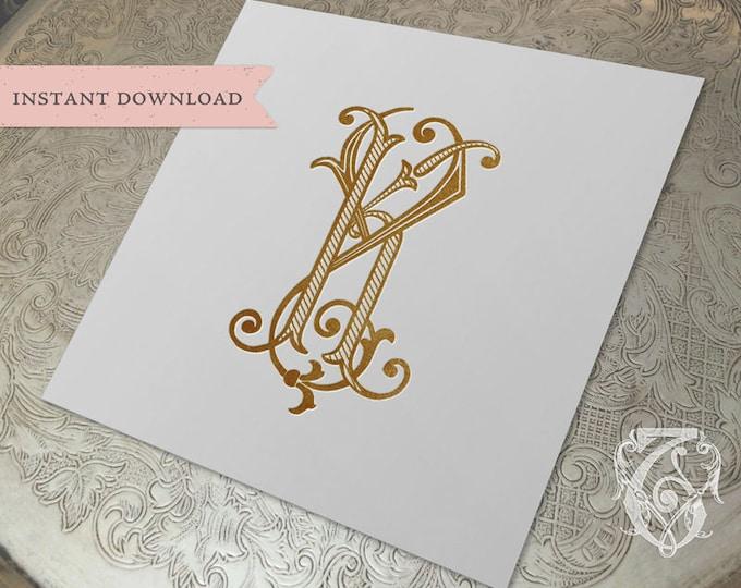 Vintage Wedding Monogram KY YK Digital Download K Y