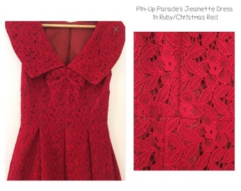 Jeanette Dress Ruby Red - a 1950s style Bridal/Xmas Ball Dress featured in British Manufactured Ruby Red Lace
