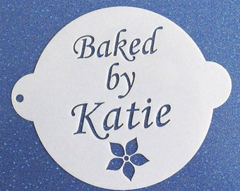 19cm 'BAKED BY' Personalised Cake Stencil with Flower - Any Name(s) Added