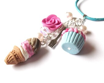 Miniature Food Necklace ( kawaii polymer clay food jewelry cupcake charm ice cream necklace cupcake necklace blue necklace pink necklace )
