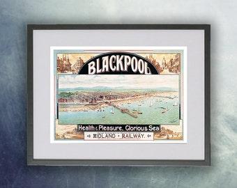 Blackpool Pier Vintage Poster Print