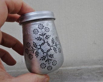 Silver Sparkly Floral Tree Or Golden Metallic Tattoo Design One of a Kind Handpainted Upcycled Glass Nug Jug by thriftalina