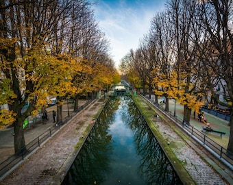 Autumn color along Canal Saint-Martin in Paris, France. Photo Print, Metal, Canvas, Framed.