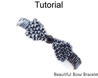 Beading Pattern Tutorial - Holiday Bracelet Jewelry Making - Beaded Bow Bracelet - Simple Bead Patterns - Beautiful Bow Bracelet #18098