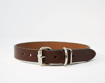 Chestnut Dog Collar, Leather Dog Collar, Personalized Leather Dog Collar