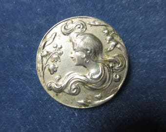 Antique Art Nouveau Style Silver Tone Metal Die Stamped of a Young Women in Profile with Long Luxurious Flowing Long Hair