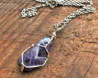 Chevron Amethyst Polished Natural Quartz Necklace Silver Wire Wrapped Titanium Quartz Crystal Point Charms Pendant Healing Crystal