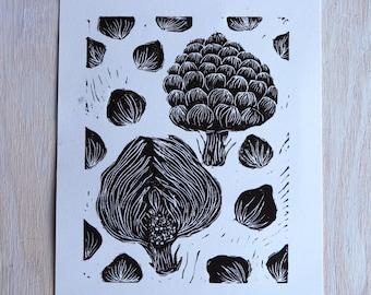Roman Artichoke, Black & White Linocut Print