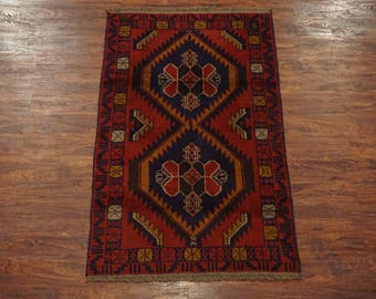 Afghan 4X6 Tribal Hand-Knotted Wool Area Rug Oriental Carpet (3.6 x 5.10)