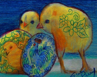 original art  aceo drawing spring easter chicks rooster Ukrainian egg colorful