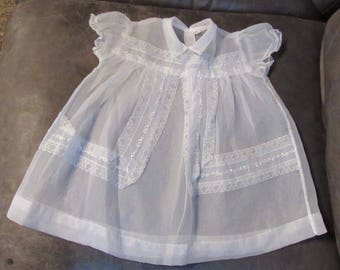 Vintage, BABY CLOTHES, Infant girls, Sheer Dress with a slip, From  1961, Pre Owned, White