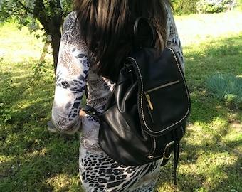 Vintage Black Leather Backpack, Everyday Rucksack, Lady Back Bag, Large Backpack, Student Bag, Gift Idea