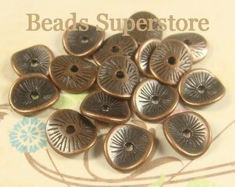 9.5 mm x 8.5 mm Antique Copper Wavy Spacer Bead - Nickel Free, Lead Free and Cadmium Free - 20 pcs