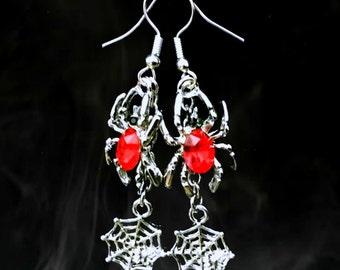 50% SALE..Spider Web Earrings..Red Spider Earrings..Silver Spider Earrings..Halloween Earrings..Gothic Dangle Earrings..Creepy Jewelry