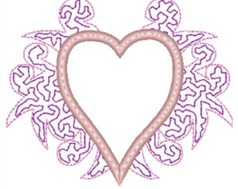 Machine Embroidery Applique Heart with Scroll