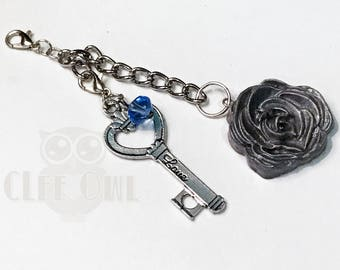 Gray Silver Rose Polymer Clay Key Charm / Planner Charm, Purse Charm, Zipper Pull