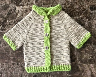Khaki Beige with Lime Green Accents Crochet Baby Sweater