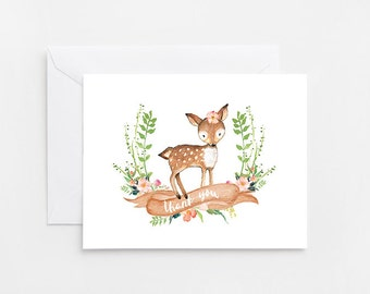 Watercolor Deer Thank You Card, Printable Card (576)
