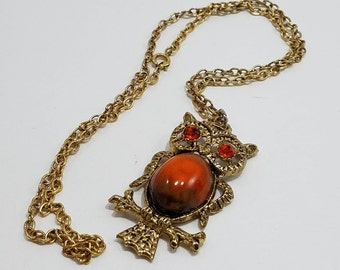 Fun & Unique!  Gold Tone Owl Pendant with Amber Colored Rhinestones and Stone