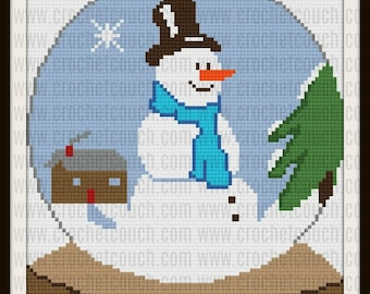 C2C Graph, Snowman Snow Globe Afghan Adult, C2C Graph & Word Chart