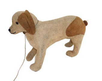 1920's Rare Buff Coloured Terrier Dog Toy With Tan Patches