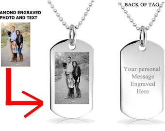 Photo Dog Tag, Engraved Necklace, Custom Engraved Keychain, Personalized Message Necklace, Gift for Her, Personalized Gifts, Photo Necklace